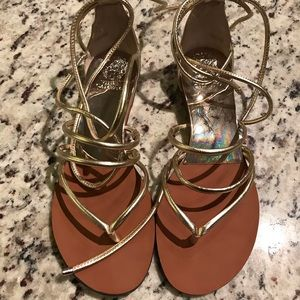 Vince Camuto gold strappy / thong sandal